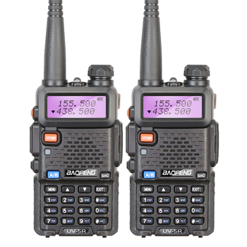 Free Shipping 2PCS/LOT BAOFENG Factory Authorized Dual Band VHF UHF 5W UV-5R Portable Ham Radio Transceiver with 5 Colors