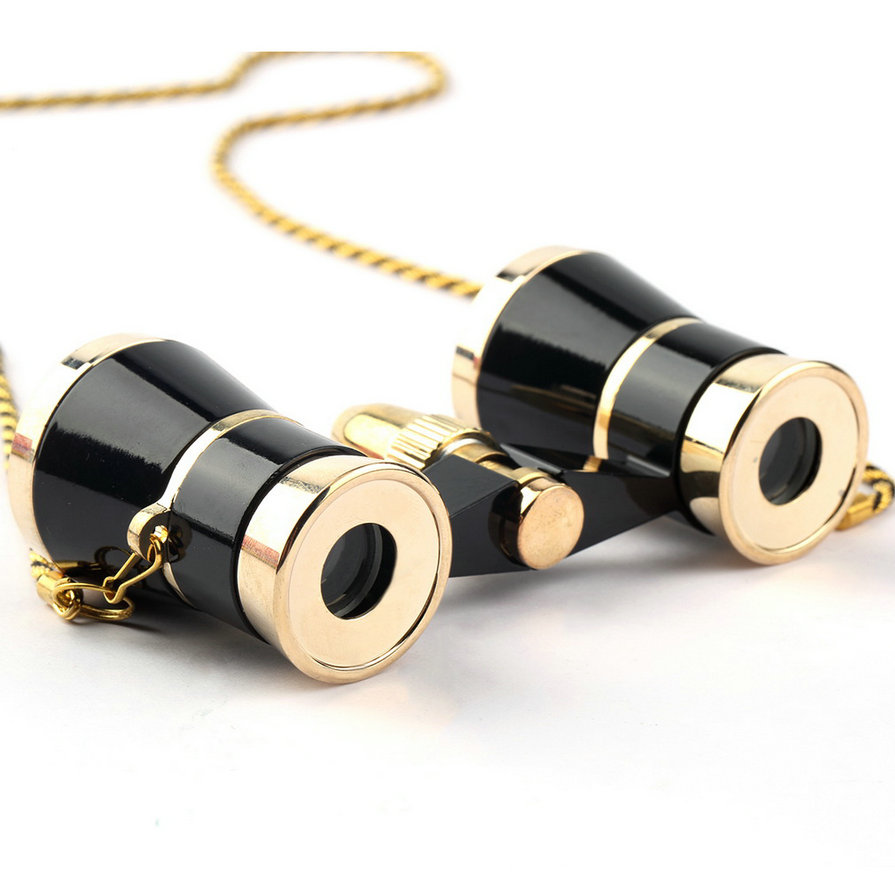 Top Exquisite Black Gold Binocular Telescope 3X25 Lady Gift Telescope Opera Theatre Binoculars Optical Opera Glasses toq quality