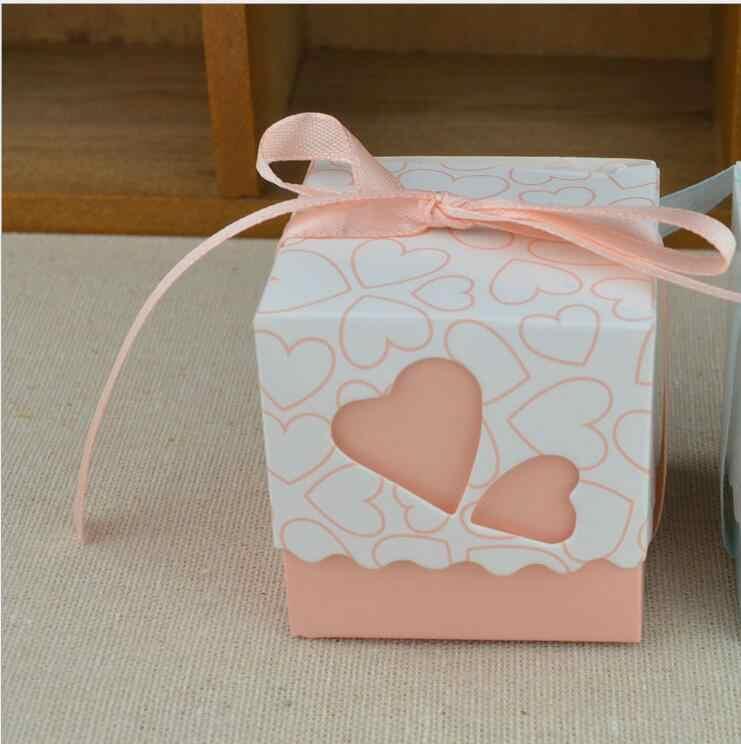 50pcs/lot Small Romatic Hearts Wedding DIY Candy Box Pink Sweet Gift Box Hollow Candy Bag Ribbon Free