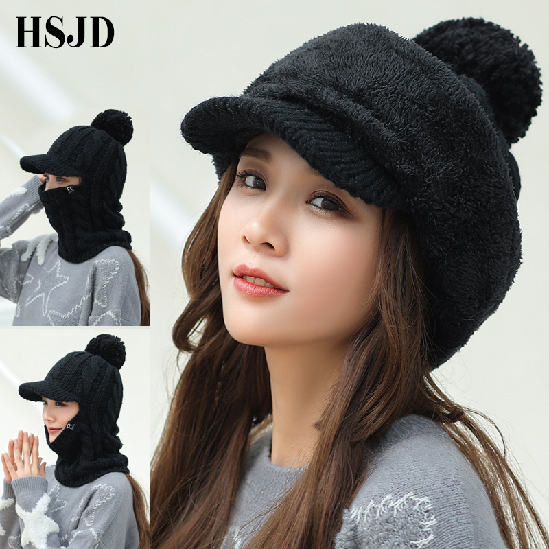 2018 Winter Hat Women Men Warm   Skullies     Beanies   Hat Face Neck Protection Balaclava Mask Gorras Bonnet Knitted Hat Ski Casual Cap