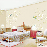 Custom Print Fabric Textile Wallcoverings For Walls Cloth Wallpaper Matt Silk For Bedding Living Room Flowers