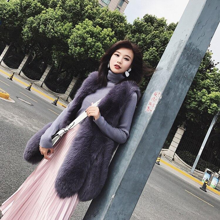Veste Purple Femme Hiver Gilet De Vintage Longue Réel Élégant Chaud Coréenne 2018 Vêtements Renard Manteau Zl716 D'hiver Femmes Fourrure wZ7UaZq