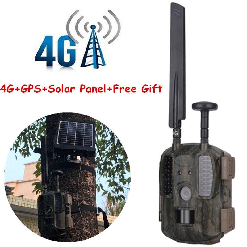 Vision nocturne 4G caméra de chasse avec panneau solaire externe 3000 mAh Photo pièges Scout sauvage Trail caméra chasse transfert rapide 4G