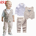 2016 Boys Clothing Sets Autumn Spring Shirt + Vest + Pants Boys Wedding Clothes Kids Gentleman Leisure Handsome Suit Free Ship