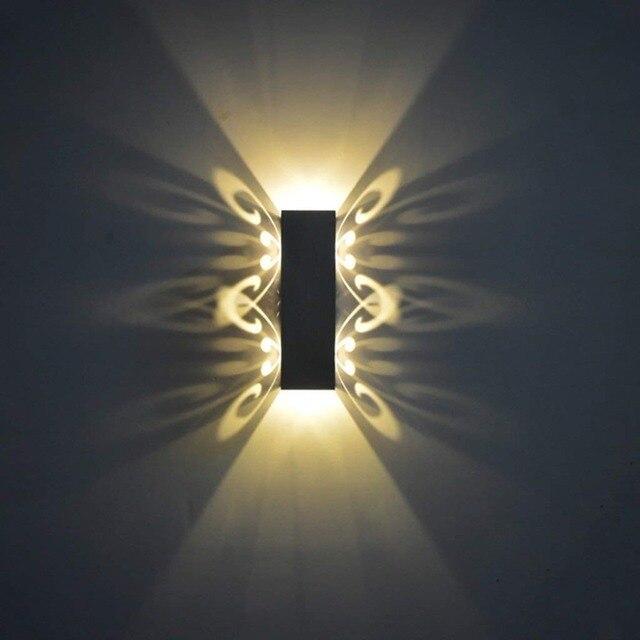 Appliques en aluminium luminaire Led haut et bas mur Led lampe 2W Batteryfly moderne mode applique murale intérieur (couleur Red-2W