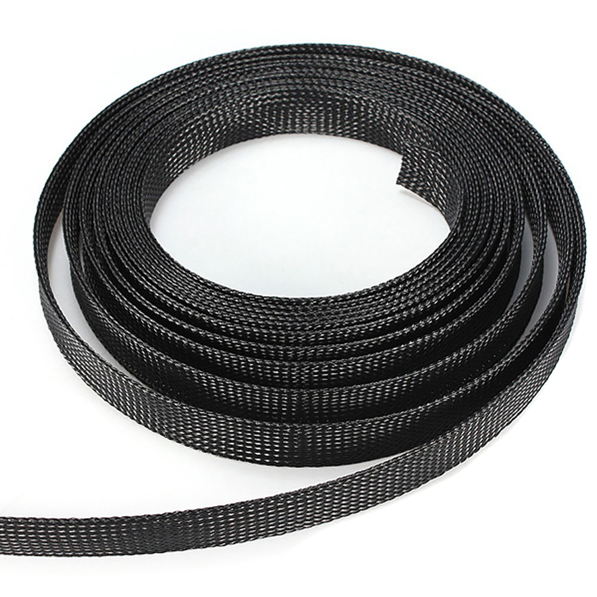 Black Braided Wire Sleeve 6/8/10/12/15mm Corrosion Resistance Protecting PET Nylon Braided Cable Sleeve 10m Length Mayitr