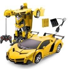 Автомобиль Трансформация Роботы спортивный автомобиль модель роботы игрушки Беспроводная зарядка крутая деформационная машина с батареей RC модель игрушки