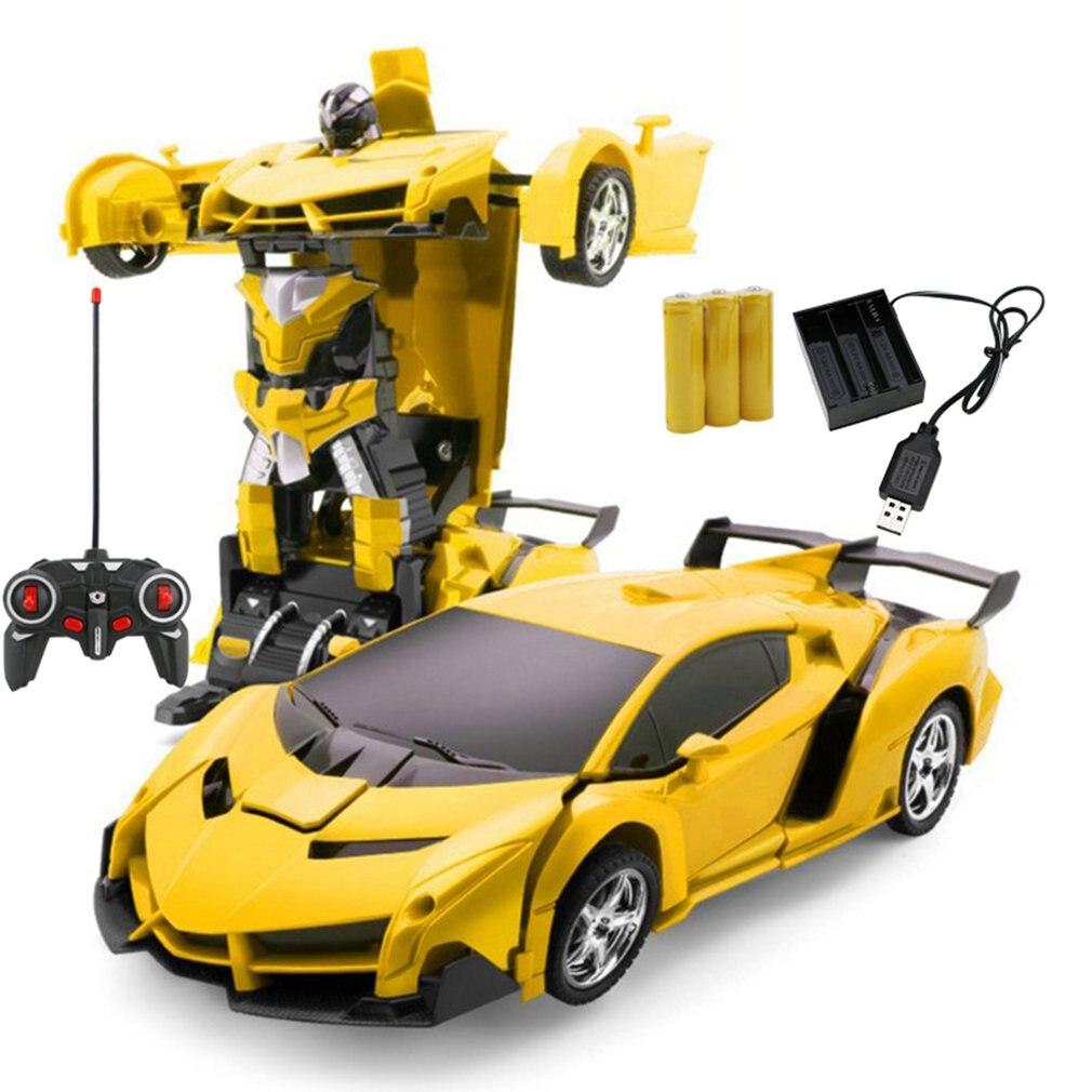 Coche transformación Robots vehículo deportivo modelo Robots Juguetes carga inalámbrica deformación fresca coche con batería RC modelo de juguete
