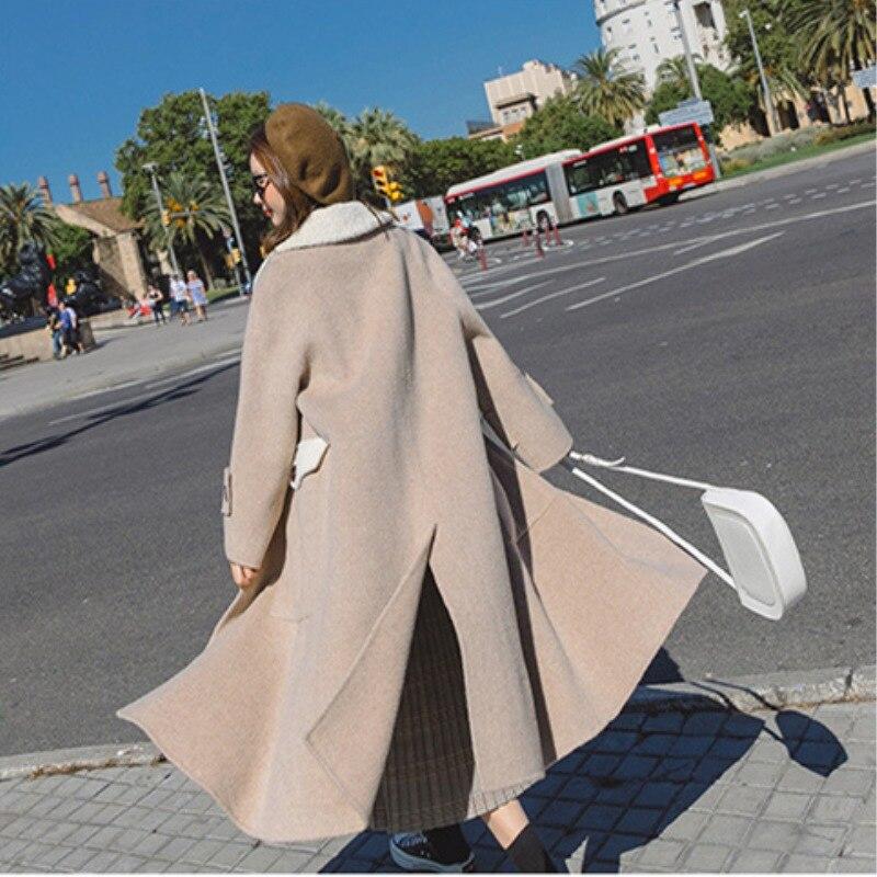 2018 Grande Mode Col Nouveau Veste Hiver Épaississent Picture Taille De As Fourrure Manteaux Solide Chaud Lapin Laine Automne Long Cw193 Manteau Femmes The 44qxpcwrdC
