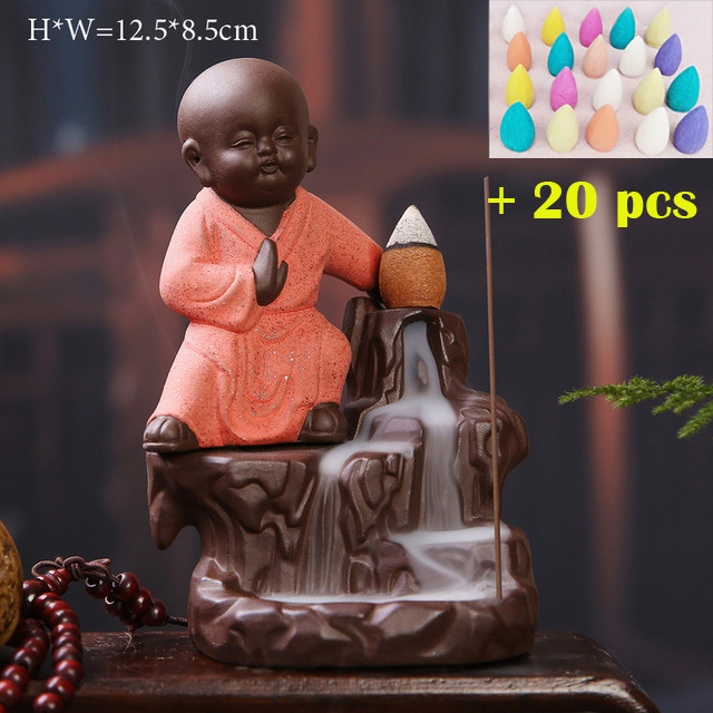 Buddha Incense Holder With 20 Backflow Incense Cones