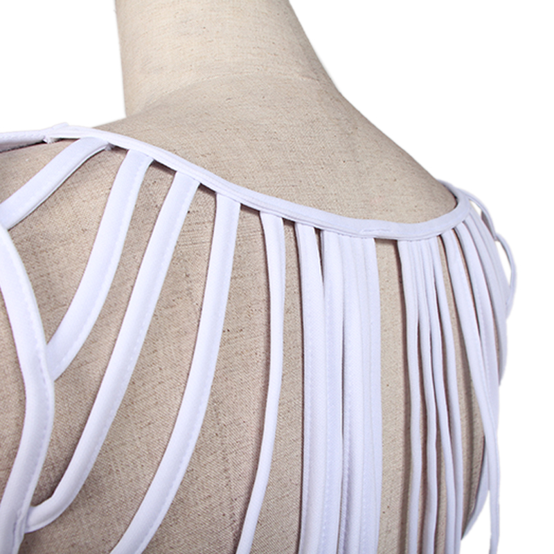 706232b69291a US $15.19 5% OFF|Pure V Neck Mini Robe Retour Tassel Femmes Sexy Push Up  Volants Robes De Vintage White Strappy Back Sleeveless Skater Dress-in ...