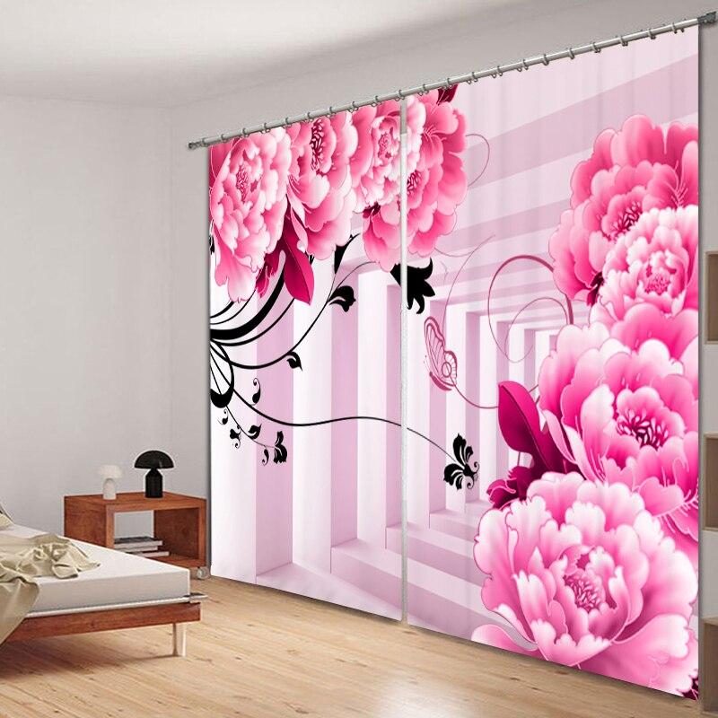 Balcon rose couloir 3D peinture rideaux occultants bureau literie salon parasol fenêtre literie taille sur mesure