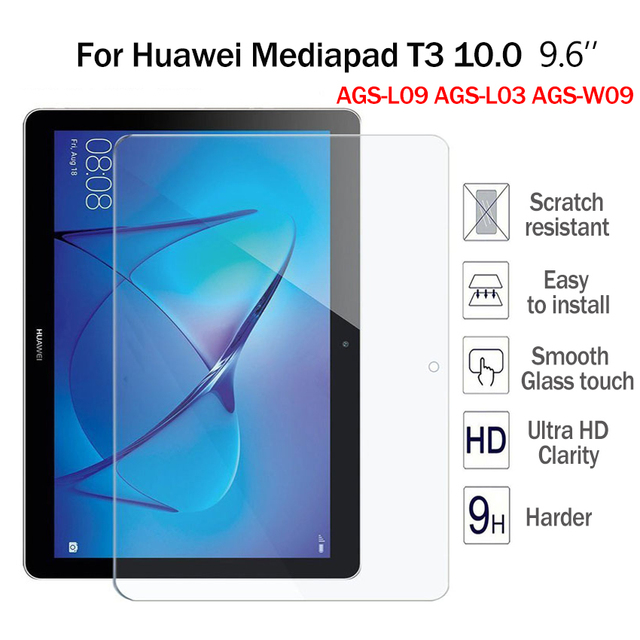 US $8 5 |9H Hardness Tempered Glass For Huawei Mediapad T3 10 0 9 6'' Full  Screen Protector Film For Huawei T3 10 AGS L09 AGS L03 AGS W09-in Tablet