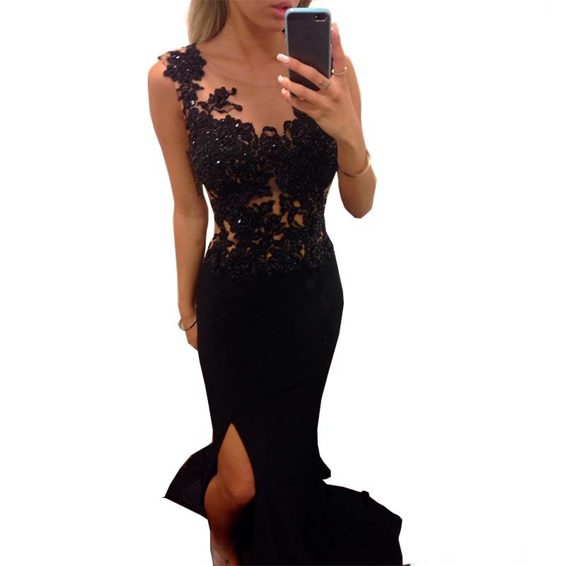 sexy High Side slit Special Occassion 2018 Sleeveless Black lace Prom gown Vestido de Festa Free Shipping   bridesmaid     dresses
