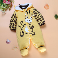 2017 Fashion Newborn Baby Clothing Autumn Winter Baby Boy Coat Cartoon Cotton Padded Baby Girl Jumpsuit