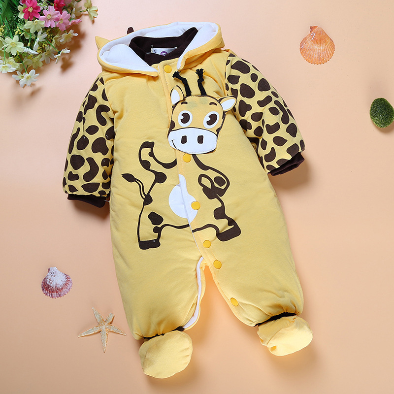 2017 Fashion Newborn Baby Clothing Autumn Winter Infant Boy Coat Cartoon Cotton Padded Kis Girl Jumpsuit Romper Child Clothing