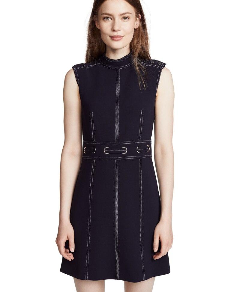 Offre spéciale femmes noir tricoté coton robe élégante sans manches Mini robes décontractées H8723