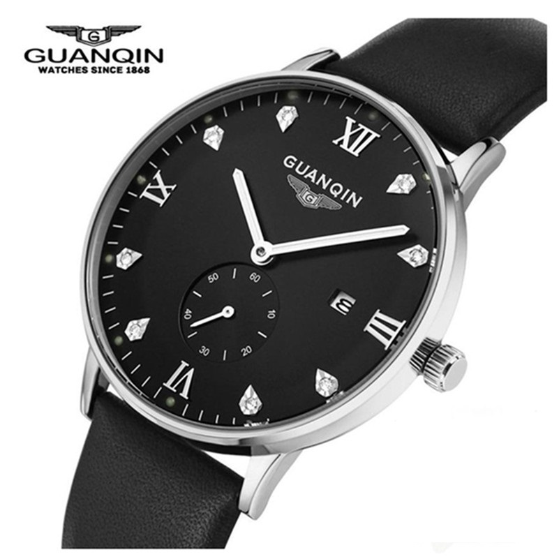 ФОТО Cheap Diamond Men Watch Luxury Brand GUANQIN Quartz Watches Analog Sports Watch Top Quality Lather Bracelet Wristwatches