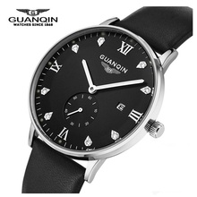 Moda Relojes Hombres Marca de Lujo GUANQIN Reloj Deportivo Analógicas Hombres Reloj de Cuarzo Del Diamante de Calidad Superior de Espuma de Pulsera Relojes de pulsera