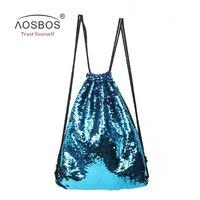 Aosbos 2017 Mermaid Drawstring Backpack Foldable Sports Gym Bag Outdoor Women Men Training Fitness Bags Drawstring