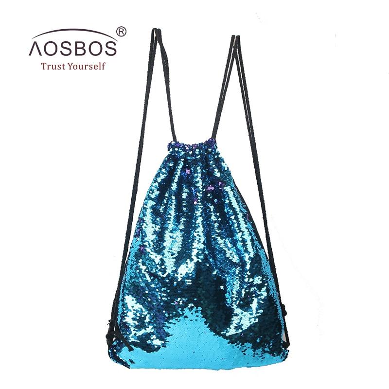 Aosbos 2019 Mermaid Drawstring Backpack დასაკეცი სპორტული სპორტული დარბაზი ტომარა გარე ქალები მამაკაცები ტრენინგი ფიტნეს ჩანთები
