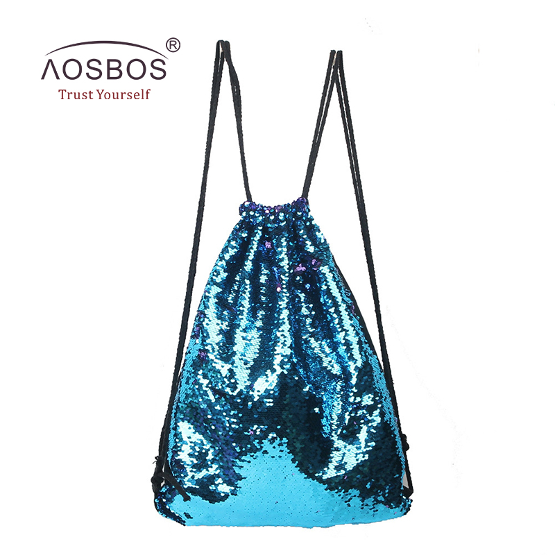 Aosbos 2019 mermaid الرباط حقيبة طوي الرياضة gym حقيبة النساء الرجال التدريب ياقة حقائب الرباط حقيبة للأحذية