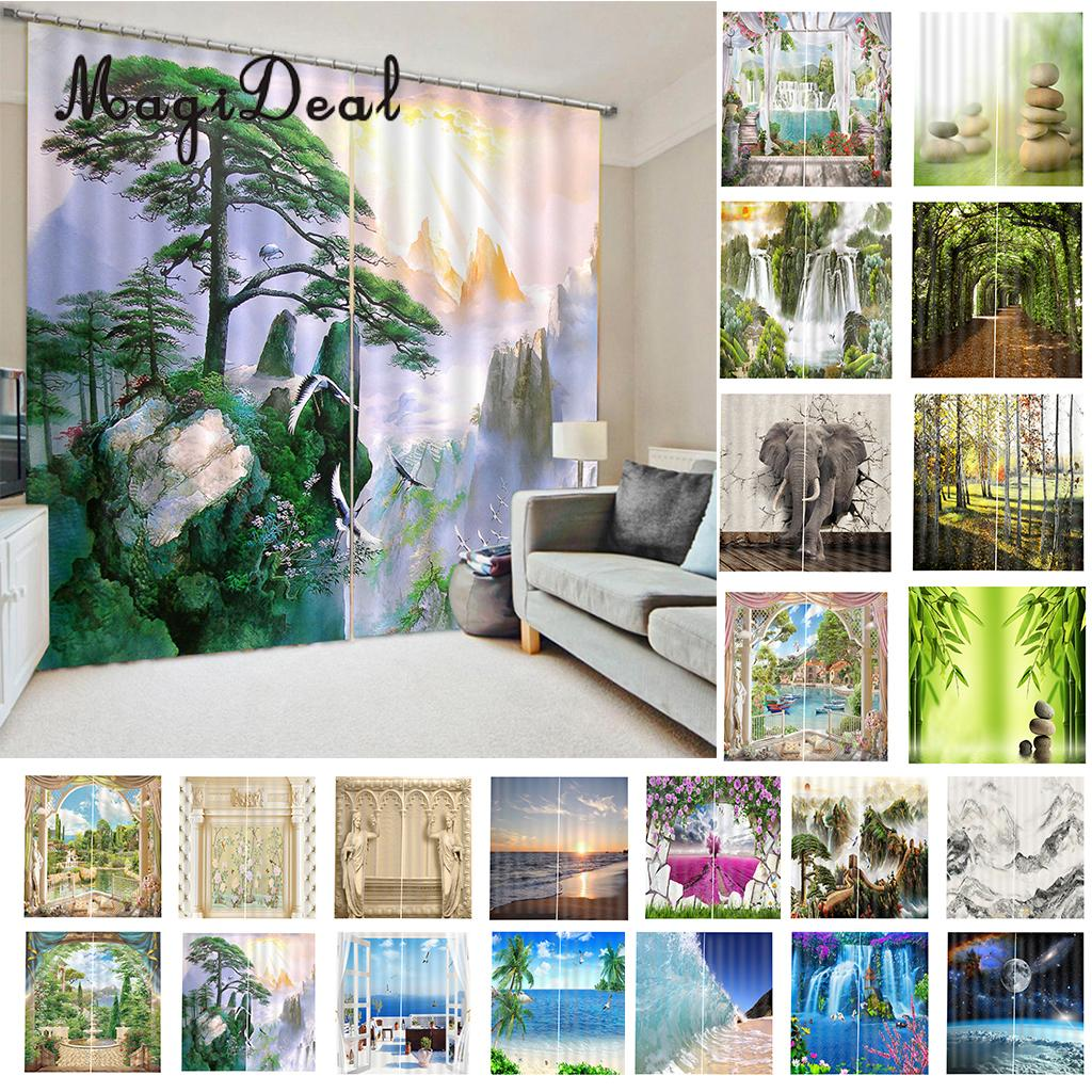 1 Pair Chinese 3D Printed Thermal Insulated Grommet Blackout Window Curtain Panel Chinese meditation style 65x30 inch 23 Colors