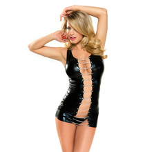 2016 Hot Sale Sexy Vinyl Lingerie Hallow out O-neck Exotic Black Women Clubwear Costume W850477