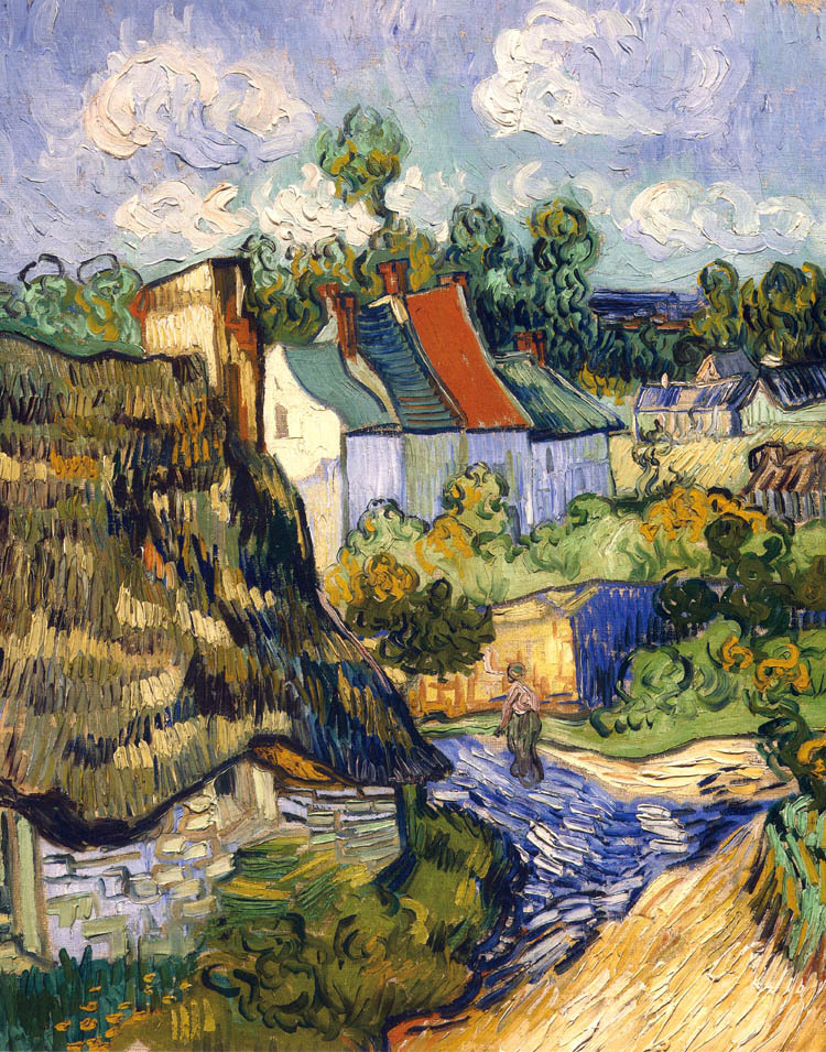 landscape canvas paintings scenery masterpiece reproduction Vincent van Gogh Houses in Auvers ...