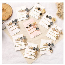 3pcs/Set Women Fashion Imitiation Pearl Hair Clips Accessories Pins Button Metal Hairpin Barrette Styling Tool