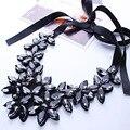 De alta Calidad Negro Cristal Collar de la Mujer de Cristal Flor Colgante Collar de la Declaración Gargantilla Cinta Collar Babero Collar de La Joyería