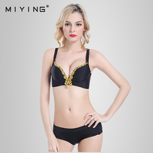 MIYING 2017 New Bra&Brief Sets Embroidery Ajusted-Straps Seamless Comfortable Plunge Bra Women's Underwear