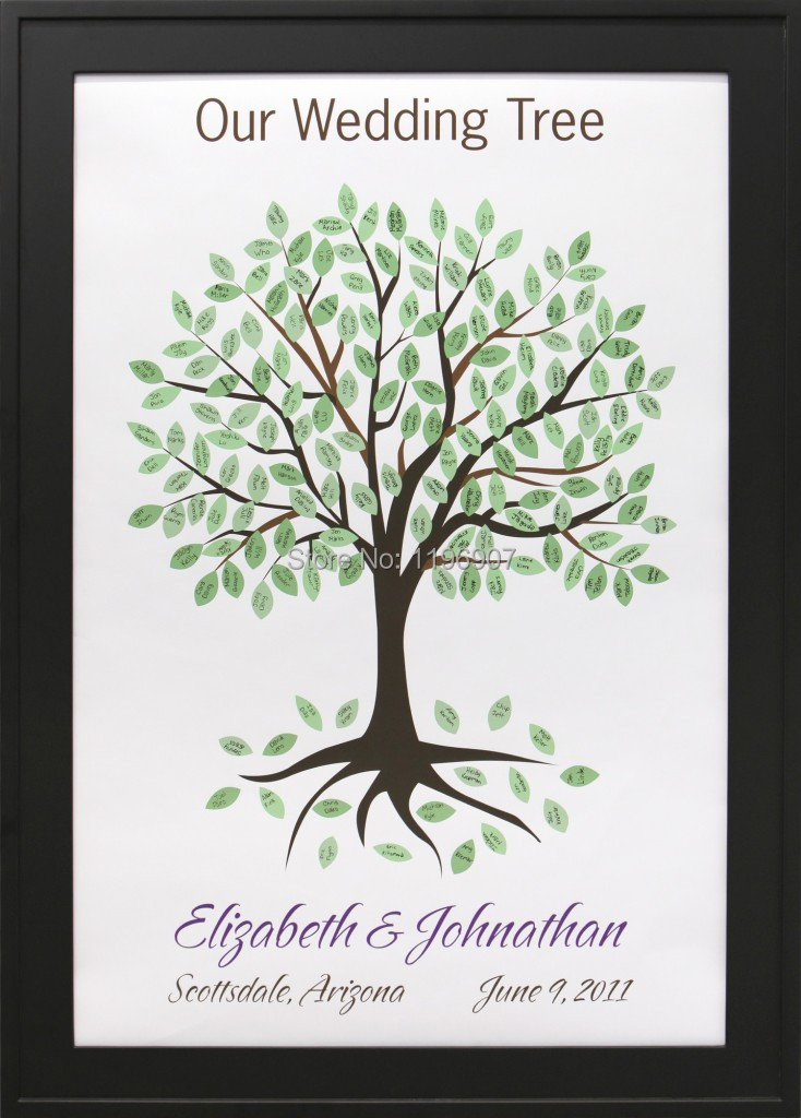 30*42CM  60 guests  Wedding Guest Books Fingerprint Tree Canvas Printing Signature Guestbook Wedding Decor Supplies mary pope osborne magic tree house books 29 32