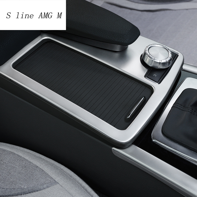 Car Styling Interior Stainless Steel Sticker Water Cup Holder Panel Decoration Trim For Mercedes Benz C Class W204 2009-2014 LHD