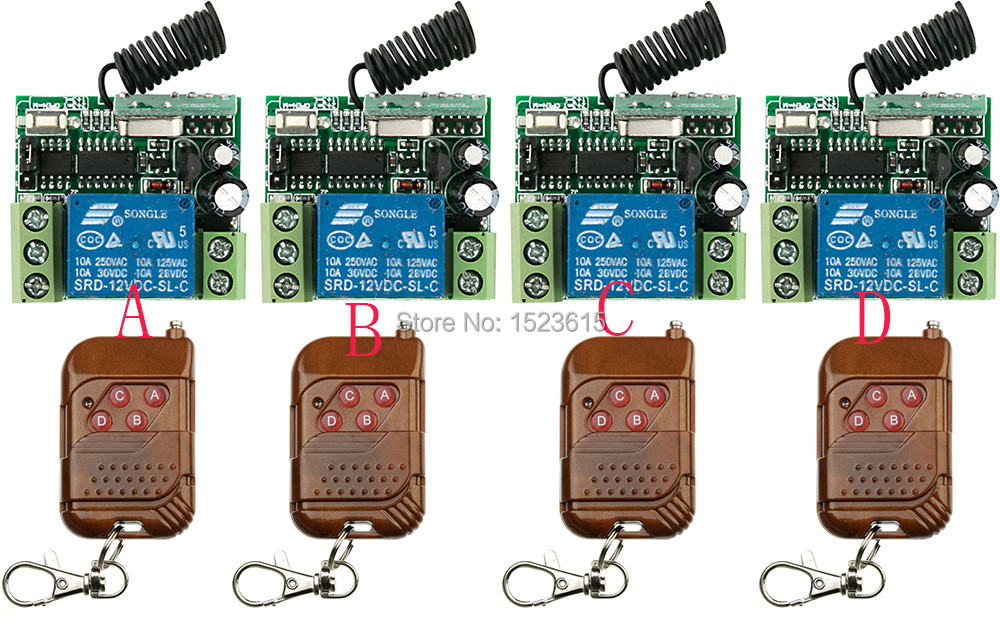 Hot Sales DC12V 10A 1Channe RF wireless remote control switch System teleswitch 4 X Transmitter +4X Receiver,315/433 MHZ hot sales dc 12v 1ch 10a 4 receiver