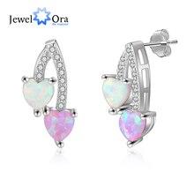 Romantic Pink & White Opal Stud Earrings for Women 925 Sterling Silver Heart Earrings Silver 925 Fine Jewelry(Jewelora EA103252)