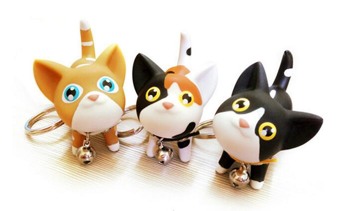 50PCS Multicolor Cute Cute Cat Keychain Animal Dolls Key Chain Baubles Pendant Shake Head Bell for kids Creative Jewelry Gift
