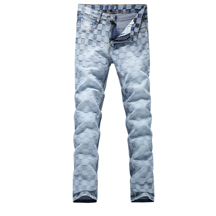 2016 new Men's blue classic plaid Jeans,Famous Brand Fashion Denim casual pants Men,classic jeans men,plus-size 28-38  2016 new men blue spliced jeans famous brand fashion denim casual pants men plus size 29 40