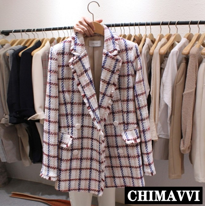 2019 New Korean Spring Small Suit Jacket Women's Chic Tweed Blazer Jacket Female Autumn Casual Outwear