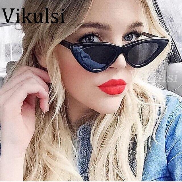 2018 Mode Rétro Cat Eye lunettes de Soleil Femmes Marque Designer Vintage  Noir Rouge Blanc Cateye 48dec9dcbb8d