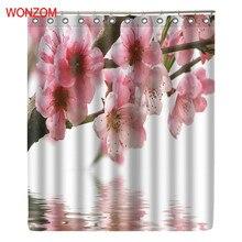 Купить с кэшбэком WONZOM Plum Blossom Modern Pink Flower Bathroom Waterproof Accessories Shower Curtains With Hooks Bath Curtain Home Fabric Gift