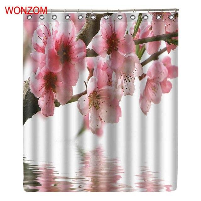 WONZOM Plum Blossom Modern Pink Flower Bathroom Waterproof Accessories Shower Curtains With Hooks Bath Curtain Home