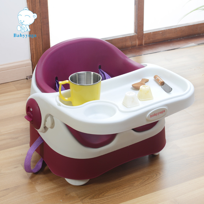 Wholesale Children Portable Folding Luxury Baby Dining Chair PU Cushion Table Booster Chair Stool Baby Seat Baby Eating Chair