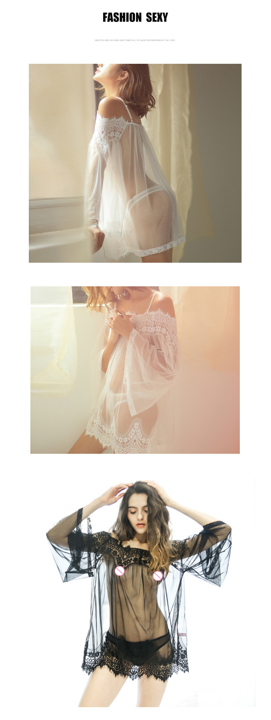 1_02  Ladies's Attractive Lingerie Perspective Lace Unique Attire Lingerie+thongs S-XXXL Attractive Babydoll Chemise Backless Sling Nightdress Scorching HTB1H9YIaXqZBuNjt jqq6ymzpXai