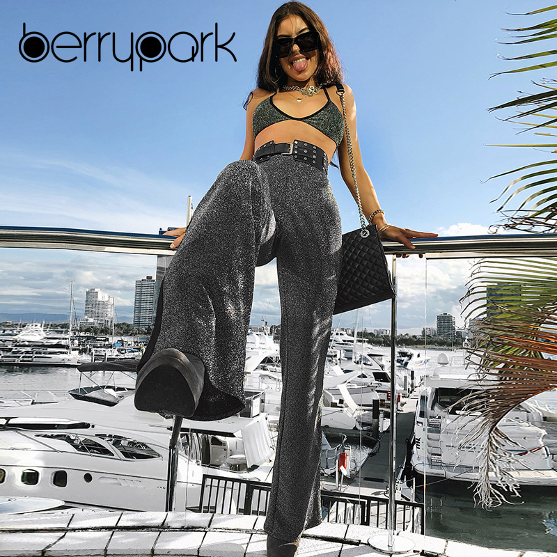 BerryPark Glitter Lurex Fashion Flare Trousers Women 2019 Spring Autumn   Wide     Leg     Pants   High Waisted Casual Loose   Pants   Wholesale