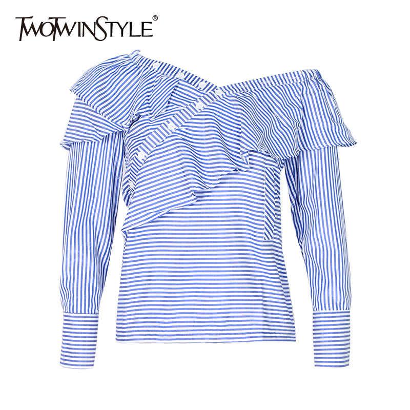 TWOTWINSTYLE 2019 летние топы с открытыми плечами, Полоска, Женская Сексуальная рубашка, блузка с оборками, с длинным рукавом, топ, одежда в Корейском стиле