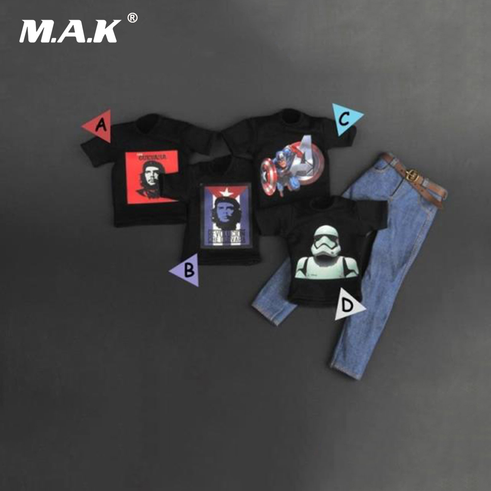 Four Styles 1/6 Scale Fashion Mens Printed T Shirt and Jeans Pants Clothing Set Models For 12 Inches Action Figures with Belt 1 6 scale vs046 female action figures blue long coat and black dress set models for 12 inches figures accessories