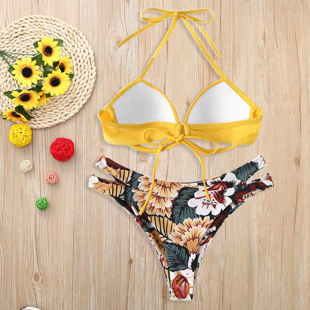 Sexy Bikini Wanita Pakaian Renang Musim Panas 2019 Potong Pakaian Renang Push Up Bikini Baju Renang Bercetak Pantai dengan Berkawat Biquini