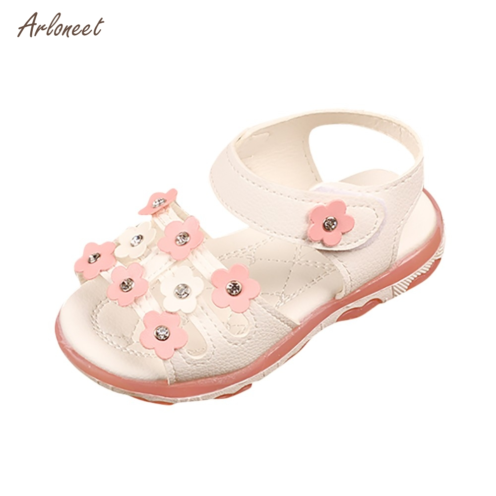 ARLONEET Для детей девочек цветок письмо светодиодный светящиеся сандалии повседневная обувь 2018 Горячая дропшиппинг _ E11