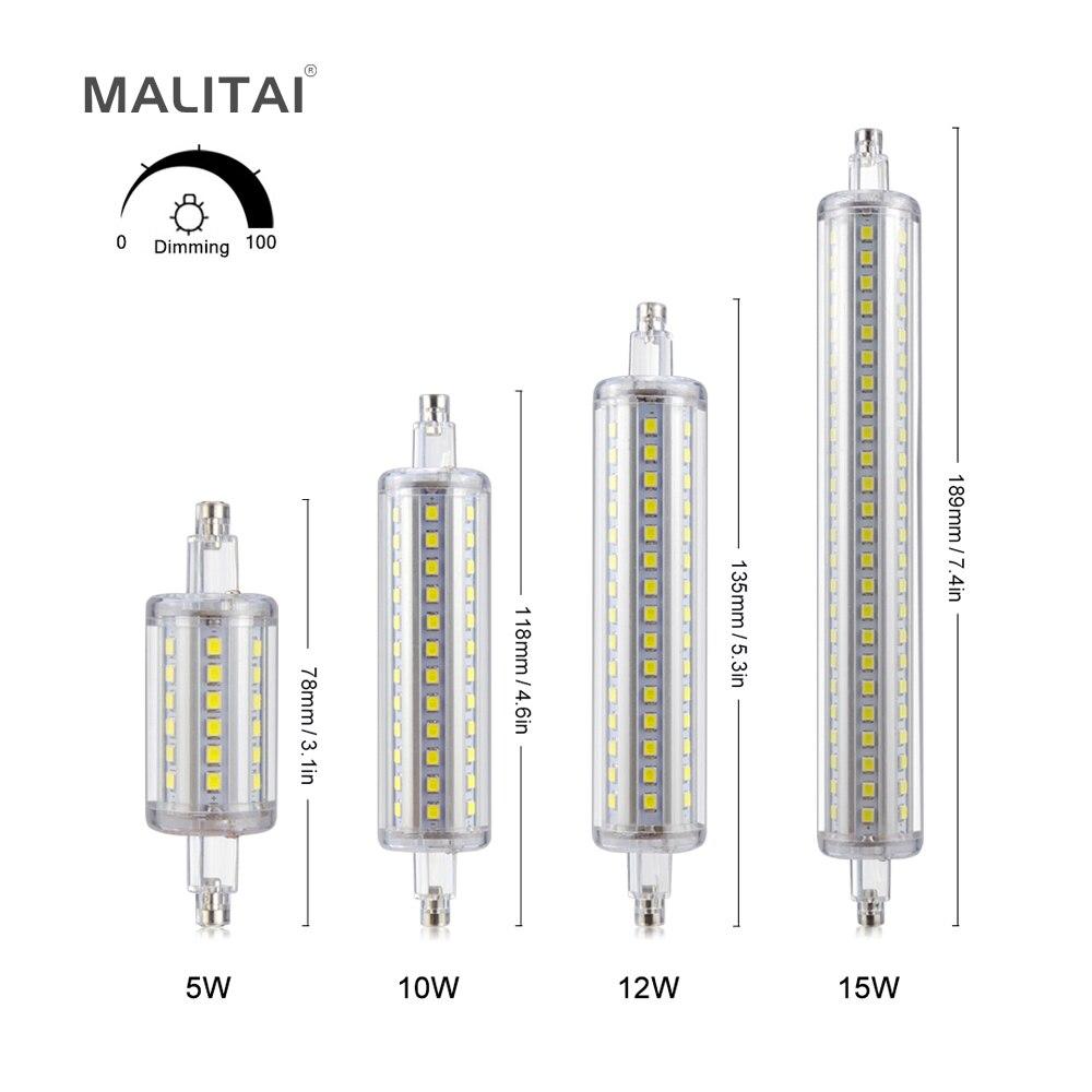 1pcs r7s dimmable led bulb 5w j78 78mm 10w j118 118mm ac. Black Bedroom Furniture Sets. Home Design Ideas